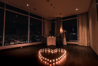 Candles, Heart, View, Night, City, Romantic, Dim