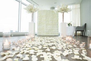 Proposal, Rose Petals, Aisle, Candles, Pillars, Bouquet, View, Flower Wall, Romantic