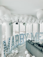 Chicagio, Hotel, Balloons, Marry Me, Marquet Lettering, White Proposal, Proposal, Wedding Proposal, City, View
