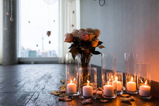 Flowers, Roses, Pink, Blush, Proposal, Bouquet, Candles, Romantic, View, City