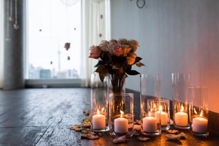 Flowers, Roses, Pink, Blush, Proposal, Bouquet, Candles, Romantic, View, City