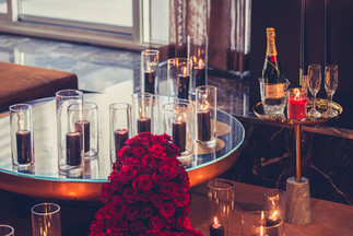 Proposal, Love, Engagement, Decor, Romantic, Lanterns, Candles, City, Night Time, Rose Fountain