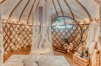 Proposal, Love, Engagement, Decor, Romantic, Lanterns, Candles, Backyard, Home, Night Time, Yurt, Neon, Fireplace