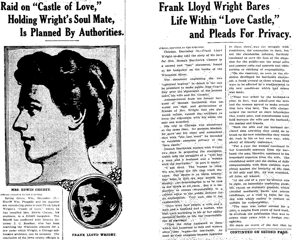 "Two articles on Frank Lloyd Wright's  ""love scandals""  from the Cincinnati Enquirer (1911)"