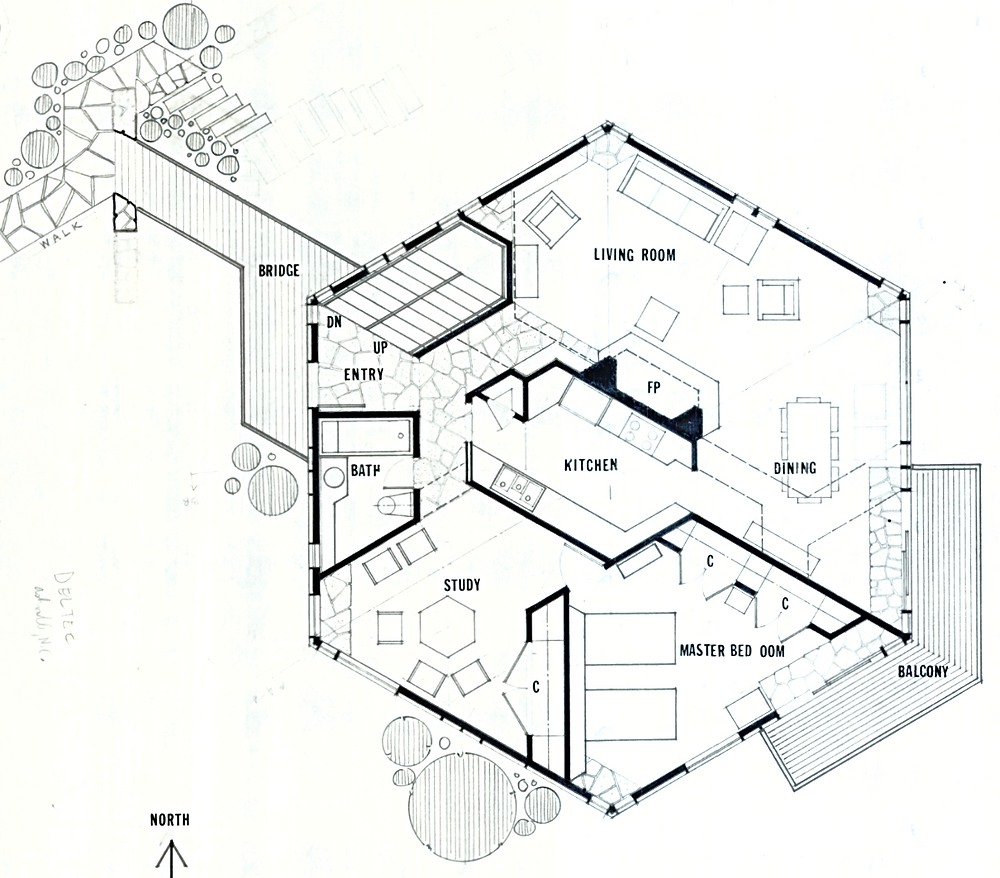Floor plan of Benjamin and Shirley Dombar House