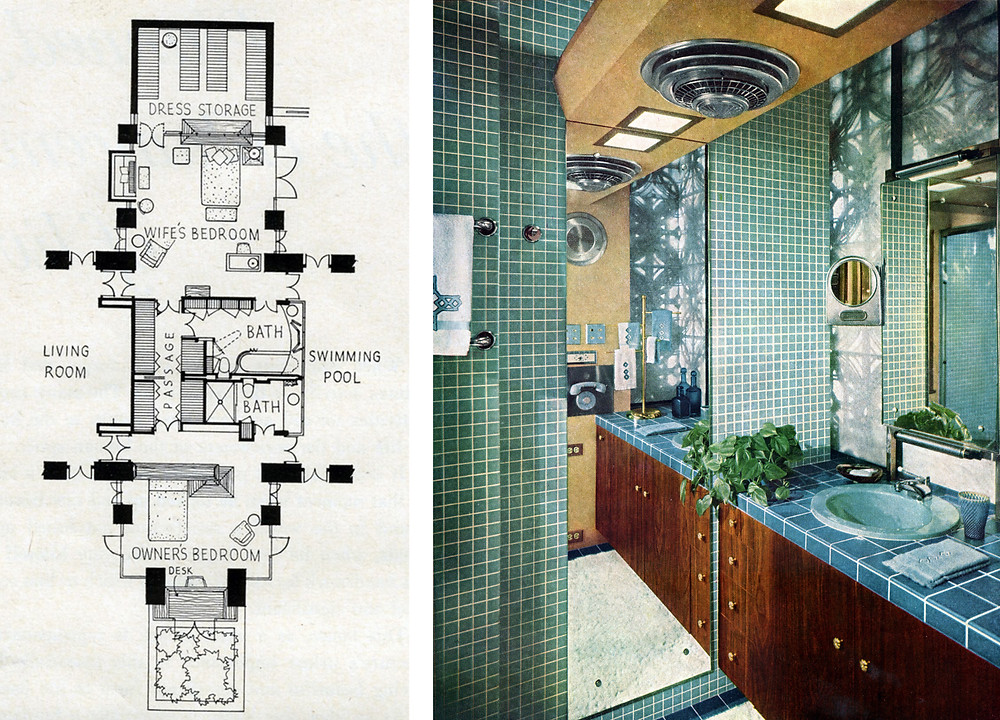 Floor plan of cross-wing (left) and Mrs. Corbett's bathroom (right)