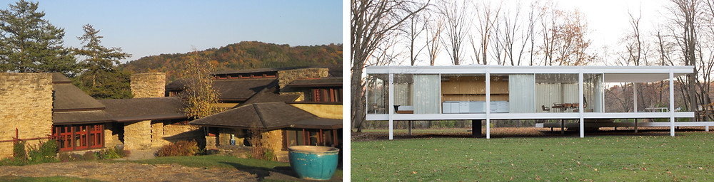 Taliesin (left), Farnsworth House (right)