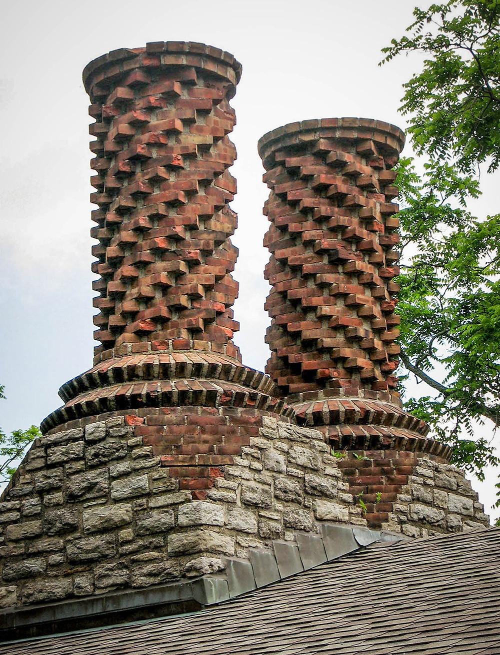 Brick chimney detail of Open Shelter Pavilion, Mount Echo Park