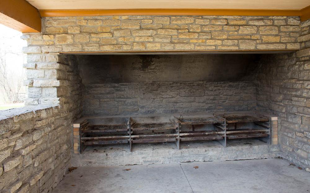 Oak Ridge Lodge's outdoor fireplace at Mount Airy Forest Park, Cincinnati