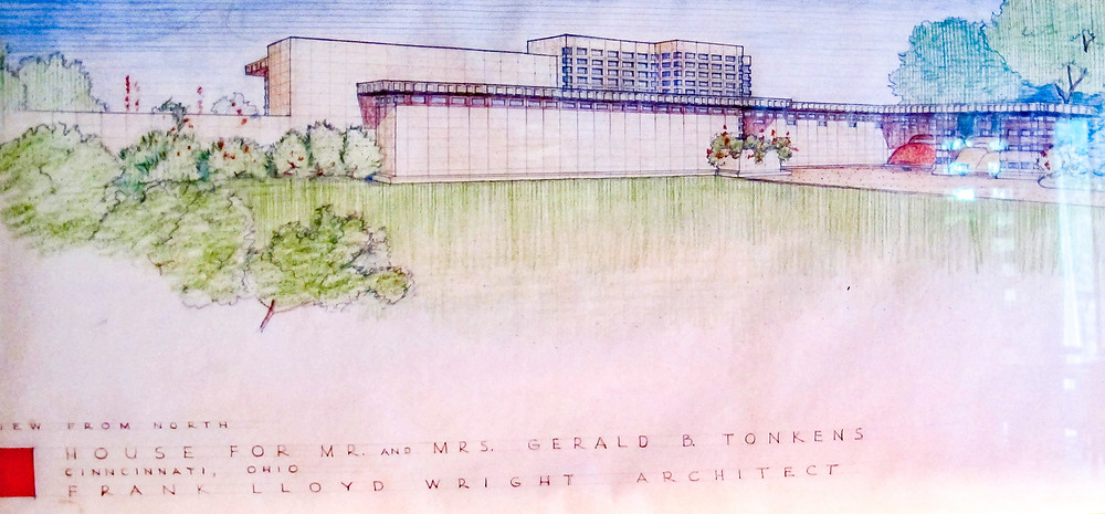 Perspective drawing of Tokens House by Frank Lloyd Wright