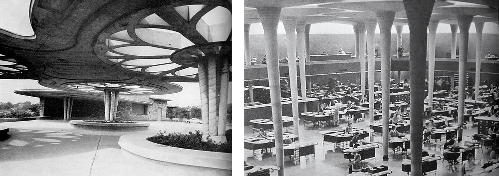 Pavilion at Bellevue Hill Park (left) and interior view of Johnson's Wax Corporate Headquarters (right)