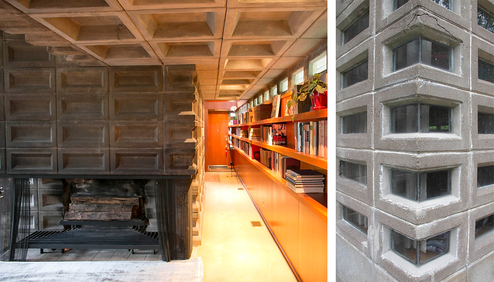 Interior view of fireplace (left) and exterior window details (right)