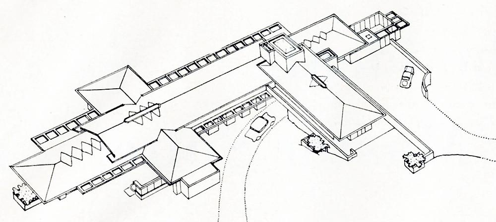 Corbett House axonometric view