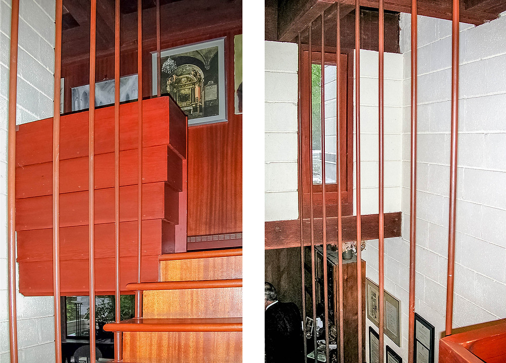 Interior view of suspended staircase (left) and view from mezzanine (right)