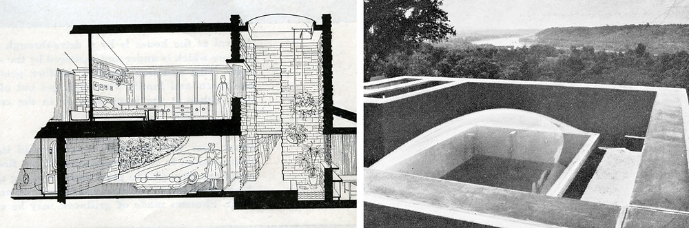 Sectional perspective drawing (left) and terrace view of skytower (right)
