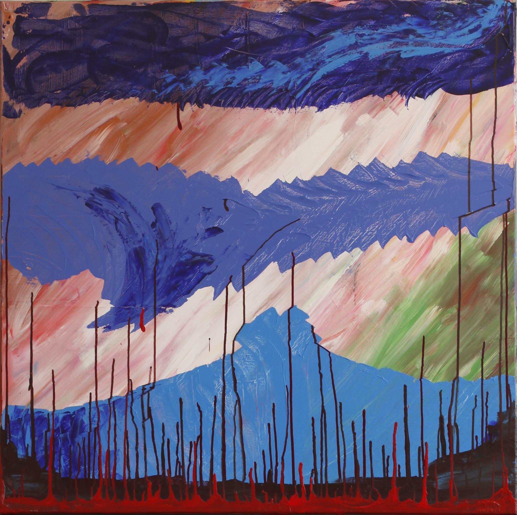 Arktisch Blau mit roten Tropfen