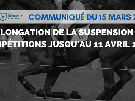 RHINOPNEUMONIE : PROLONGATION DE LA SUSPENSION DES COMPÉTITIONS JUSQU'AU 11 AVRIL 2021