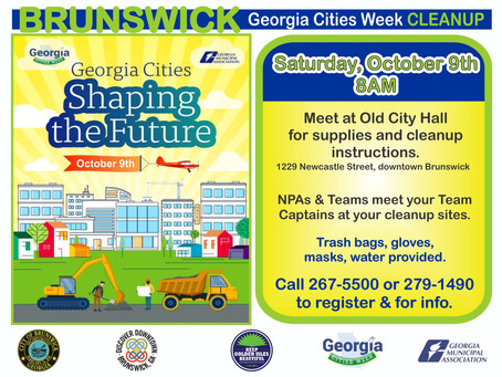 Volunteers needed for October 9th BRUNSWICK Georgia Cities Week CLEANUP