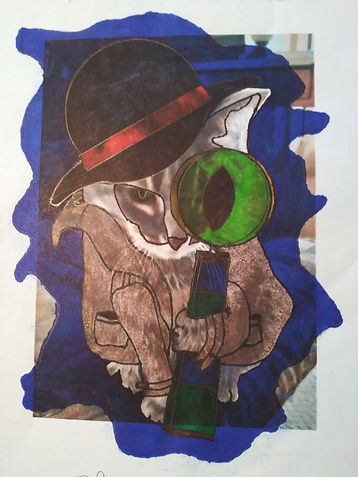 a cat sitting wearing a trench coat and hat, with oversized magnifying glass filled with cats eye