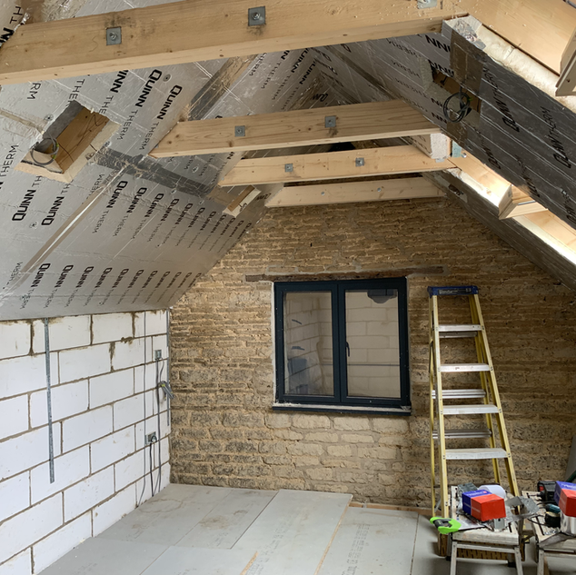 Barn extension roof insulation