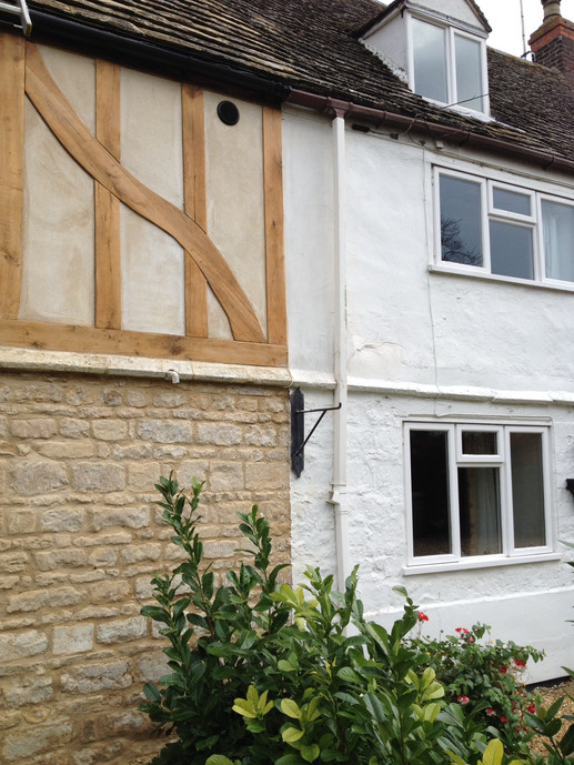 character oak frame over stone building