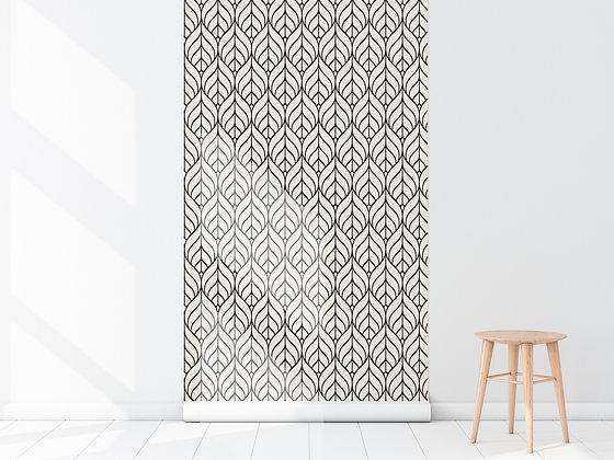 Papel Mural flores blanco y negro