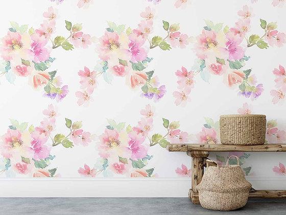 Papel Mural Flores Acuareladas