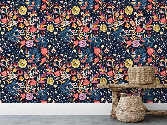 Papel Mural Flores y pájaros