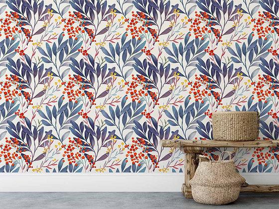 Papel Mural flores y hojas