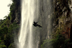 Canyoning down a waterfall