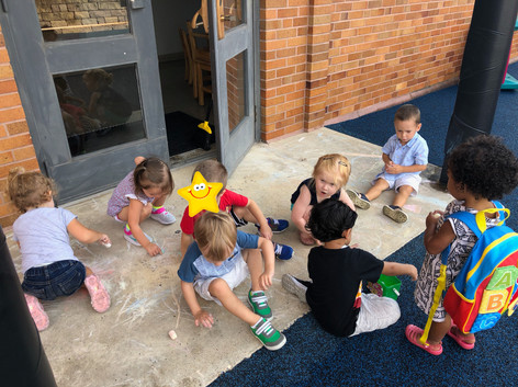 Coloring with chalk outside