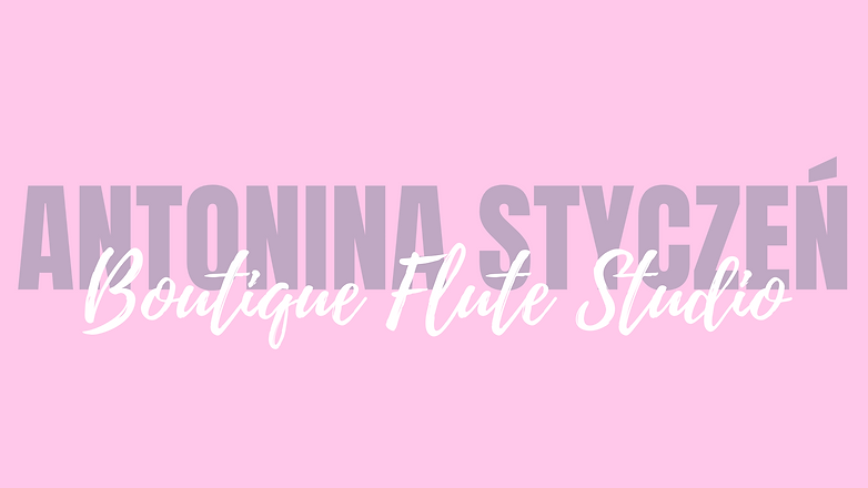 Graphic with pink background that says Antonina Styczen Boutique Flute Studio