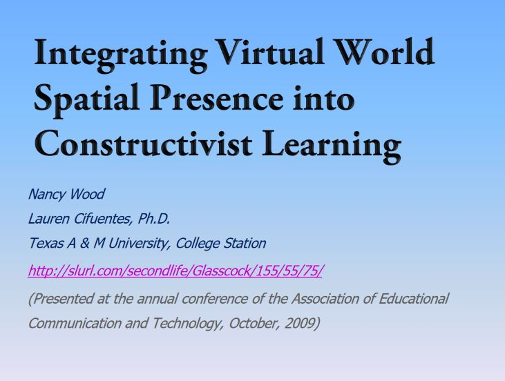 Presence in Virtual Learning Environ