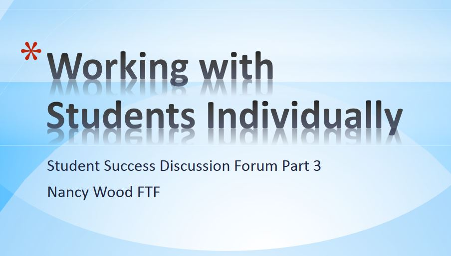 Working with Students as Individuals