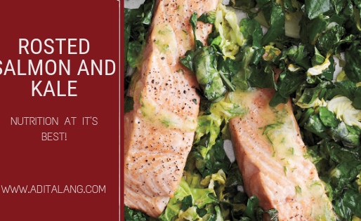Roasted Salmon with Kale