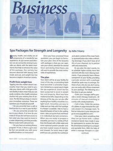Le Nouvelle Esthetique Article about Spa