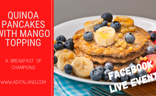 Quinoa Pancakes with Mango Topping