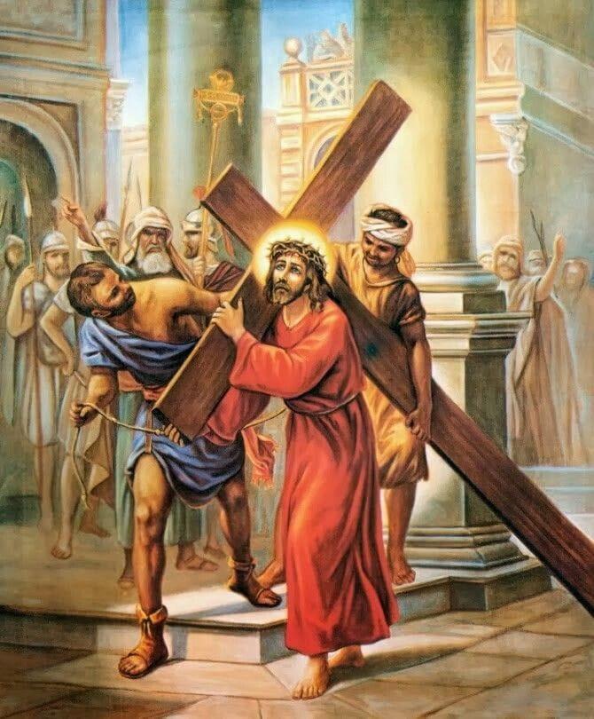 Jesus carregando a cruz em direção ao Calvário