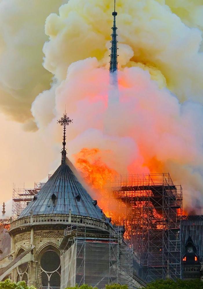 Incêndio ocorrido na Catedral de Notre Dame no dia 15 de abril Foto: Erieta Attali)