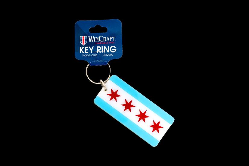Chicago Flag Mirrored Key Ring