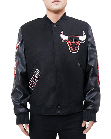 Chicago Bulls Varsity Black Wool/Leather by Pro Standard