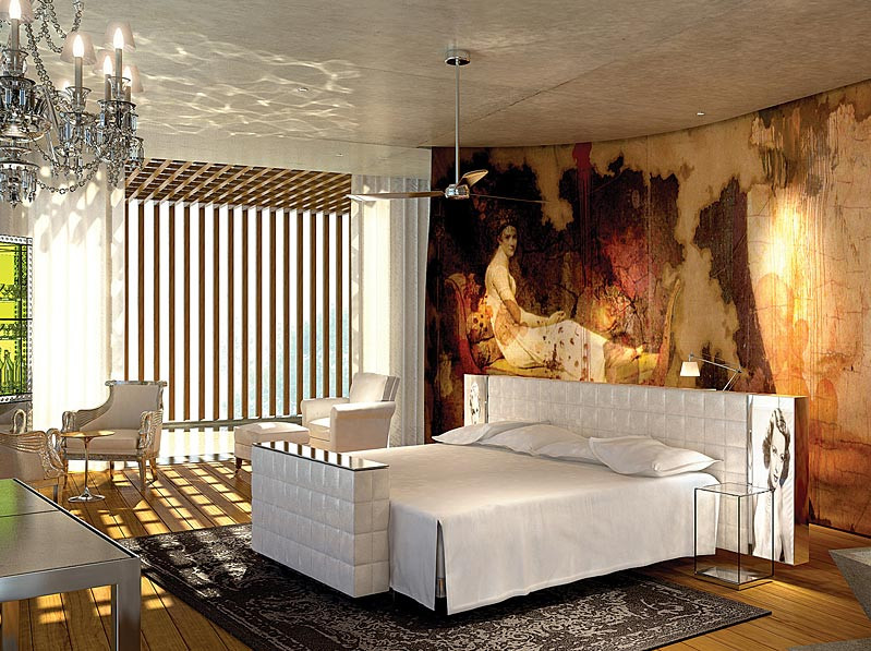 Classical giant mural in a contemporary bedroom by designer Jean Michel Gathy