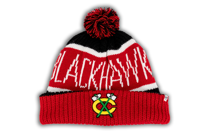 Chicago Blackhawks Tomahawks '47 Calgary Red/Black Cuffed Knit w/Pom