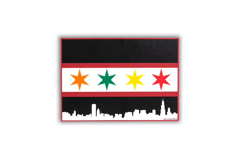 Chicago Flag Skyline w/Blackhawks Colorway