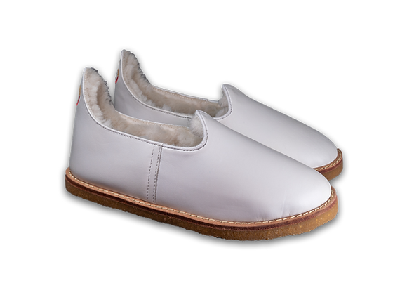 White Leather Sheep Wool Baba Rubber Sole