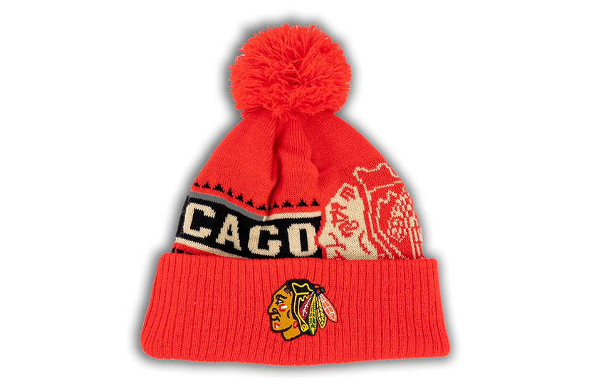Chicago Blackhawks CCM Red Major Logo Cuffed Knit w/Pom
