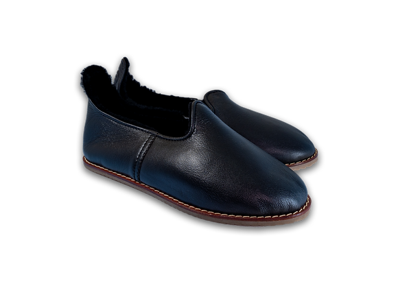 Black Leather Sheepwool Baba