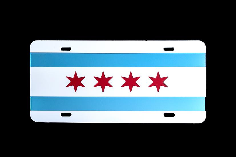 Chicago Flag Laser Chrome Vanity Plate