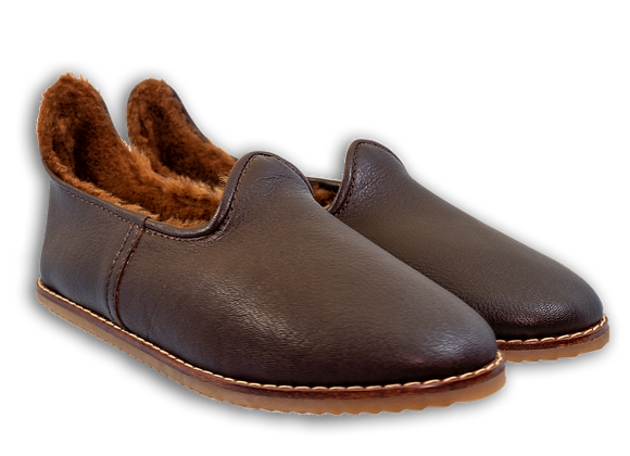 Brown Leather Sheepwool Baba