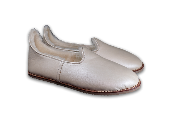 Iridescent White Leather Sheep Wool Baba